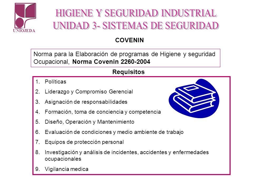 UNIOJEDA COVENIN Norma para la Elaboración de programas de Higiene y seguridad Ocupacional, Norma Covenin 2260-2004 Requisitos 1.Políticas 2.Liderazgo