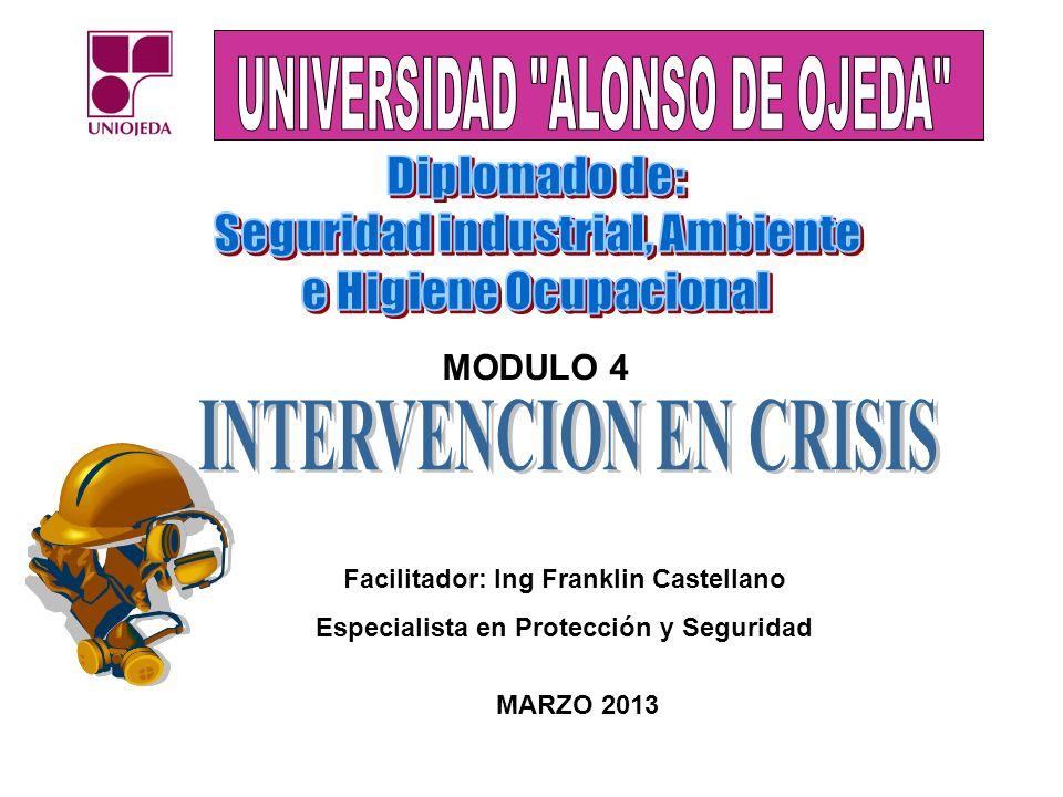 MODULO 4 Facilitador: Ing Franklin Castellano Especialista en Protección y Seguridad MARZO 2013