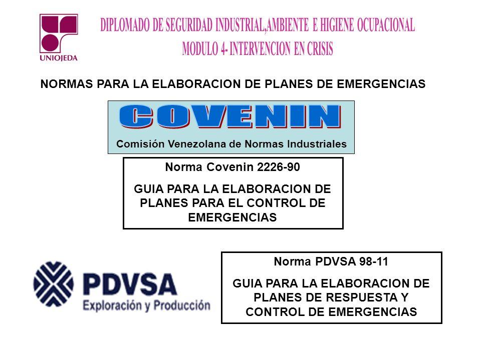 NORMAS PARA LA ELABORACION DE PLANES DE EMERGENCIAS Norma Covenin 2226-90 GUIA PARA LA ELABORACION DE PLANES PARA EL CONTROL DE EMERGENCIAS Norma PDVS
