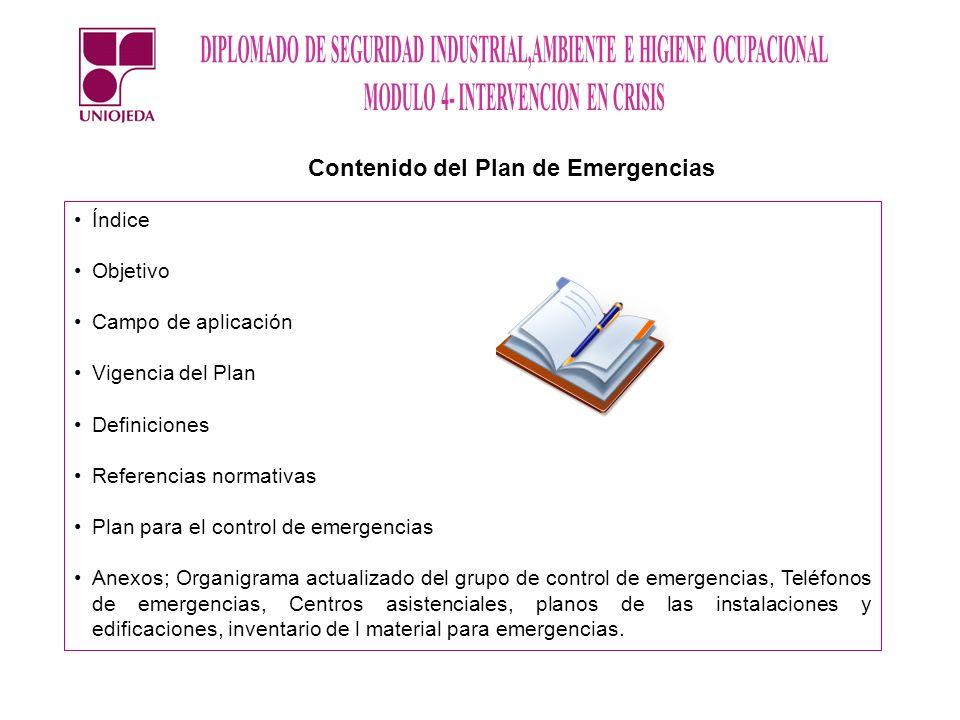 Índice Objetivo Campo de aplicación Vigencia del Plan Definiciones Referencias normativas Plan para el control de emergencias Anexos; Organigrama actu