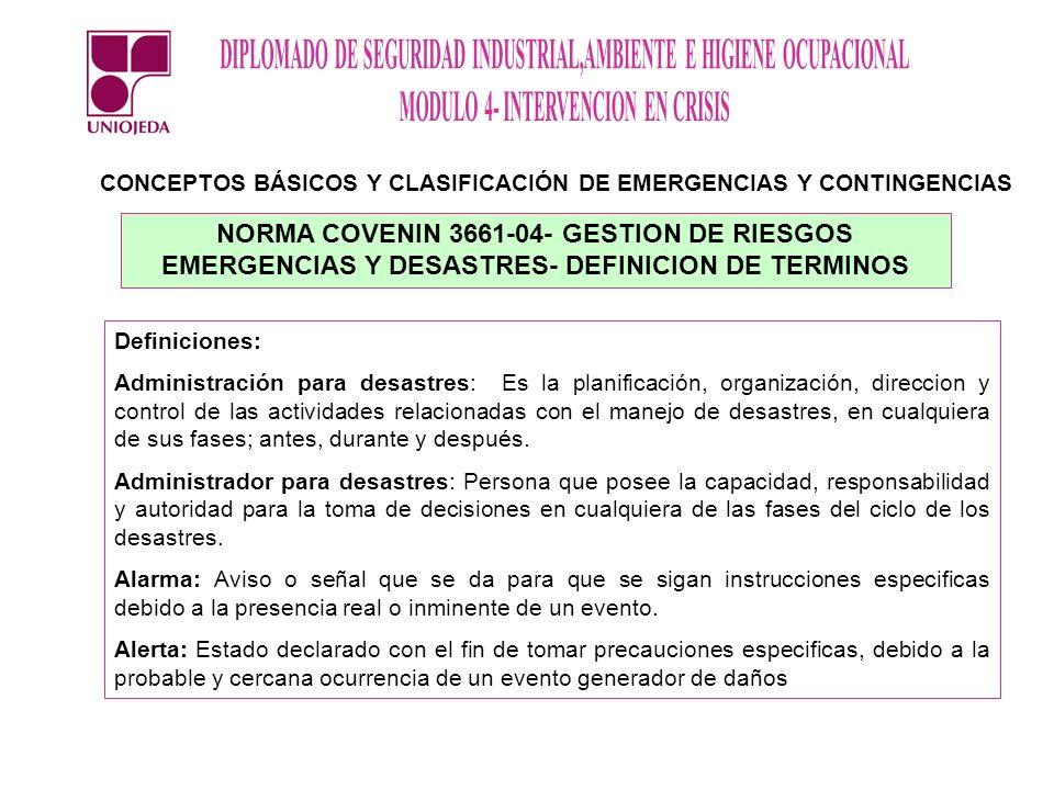 CONCEPTOS BÁSICOS Y CLASIFICACIÓN DE EMERGENCIAS Y CONTINGENCIAS NORMA COVENIN 3661-04- GESTION DE RIESGOS EMERGENCIAS Y DESASTRES- DEFINICION DE TERM