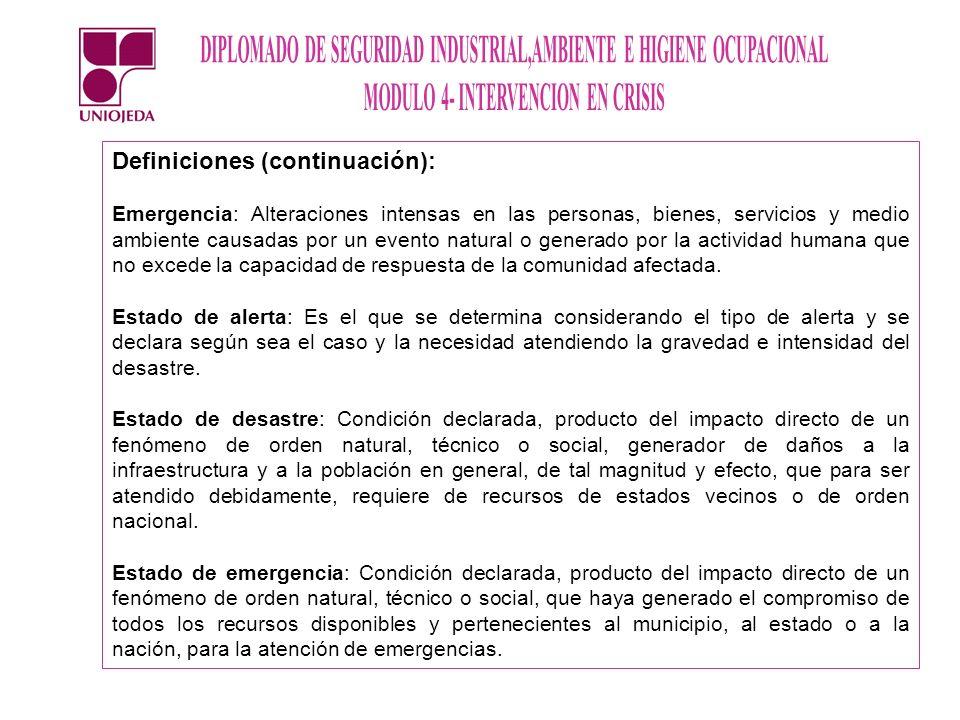 Definiciones (continuación): Emergencia: Alteraciones intensas en las personas, bienes, servicios y medio ambiente causadas por un evento natural o ge