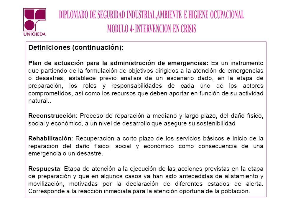 Definiciones (continuación): Plan de actuación para la administración de emergencias: Es un instrumento que partiendo de la formulación de objetivos d