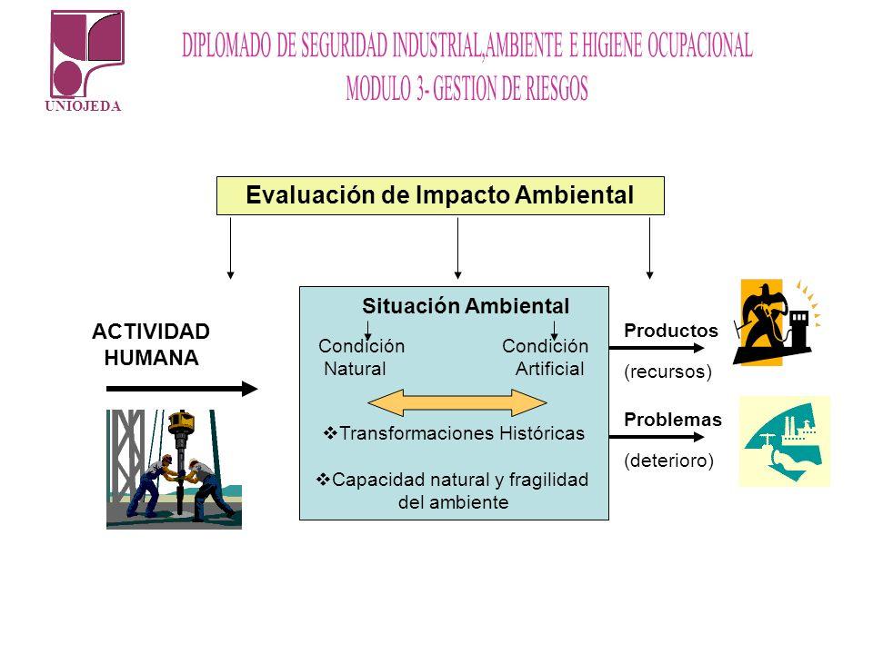 UNIOJEDA Situación Ambiental Condición Natural Artificial Transformaciones Históricas Capacidad natural y fragilidad del ambiente Evaluación de Impact