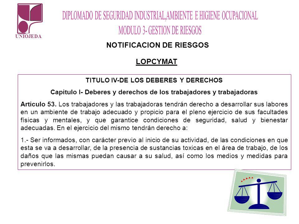 NOTIFICACION DE RIESGOS LOPCYMAT TITULO IV-DE LOS DEBERES Y DERECHOS Capitulo I- Deberes y derechos de los trabajadores y trabajadoras Articulo 53. Lo