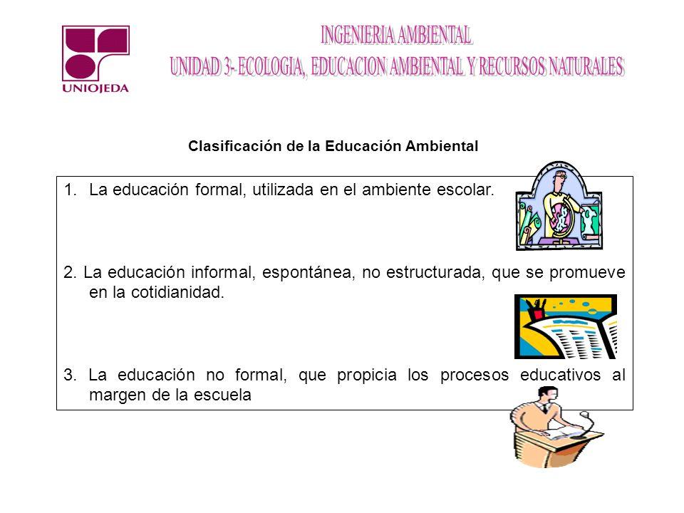 Clasificación de la Educación Ambiental 1.La educación formal, utilizada en el ambiente escolar. 2. La educación informal, espontánea, no estructurada