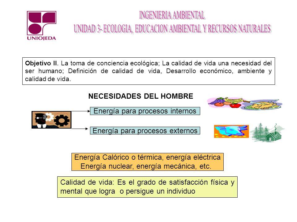 Objetivo II. La toma de conciencia ecológica; La calidad de vida una necesidad del ser humano; Definición de calidad de vida, Desarrollo económico, am