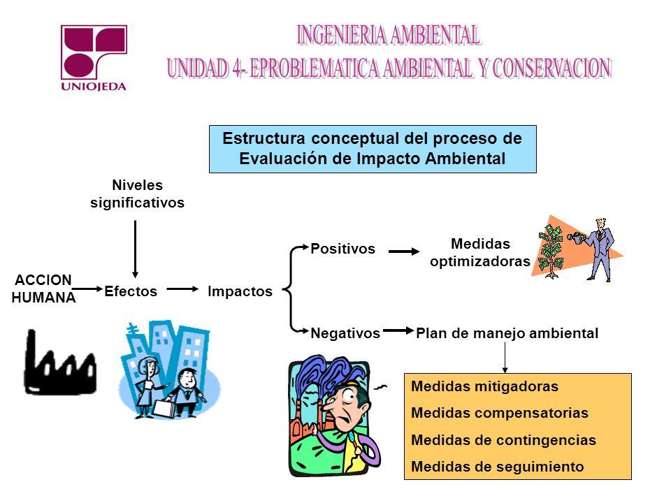 Estructura conceptual del proceso de Evaluación de Impacto Ambiental ACCION HUMANA Niveles significativos ImpactosEfectos Positivos Negativos Medidas