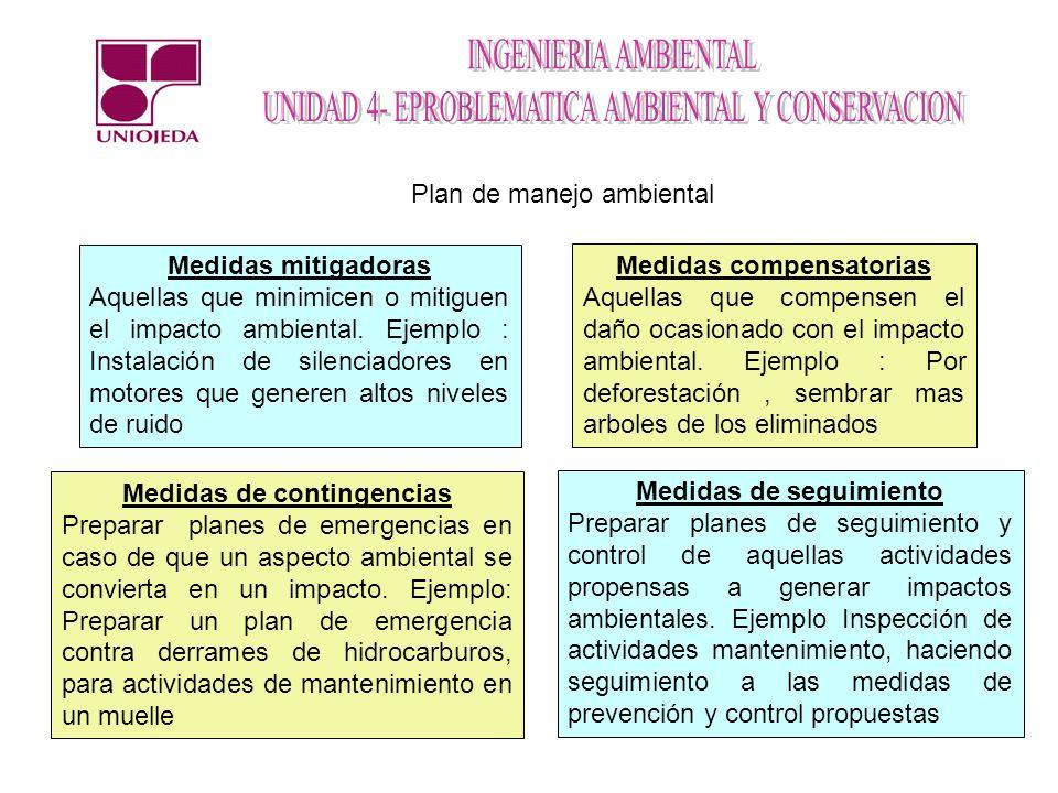 Plan de manejo ambiental Medidas mitigadoras Aquellas que minimicen o mitiguen el impacto ambiental. Ejemplo : Instalación de silenciadores en motores
