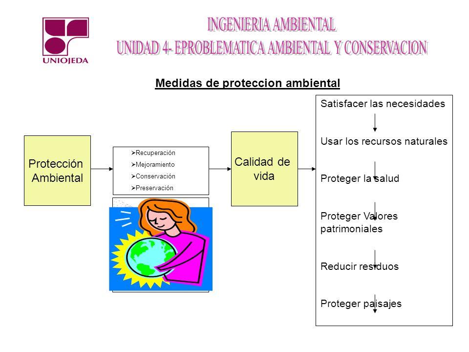 Protección Ambiental Recuperación Mejoramiento Conservación Preservación Calidad de vida Satisfacer las necesidades Usar los recursos naturales Proteg