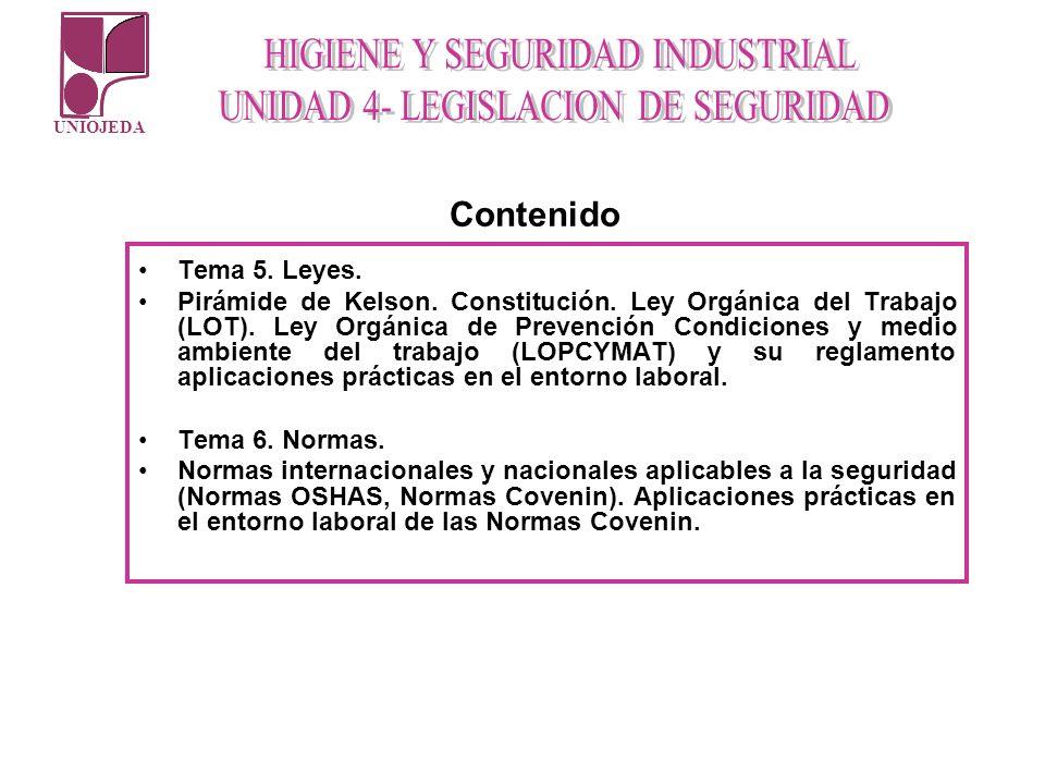 UNIOJEDA Tema 5. Leyes. Pirámide de Kelson. Constitución. Ley Orgánica del Trabajo (LOT). Ley Orgánica de Prevención Condiciones y medio ambiente del