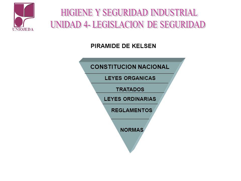 UNIOJEDA PIRAMIDE DE KELSEN CONSTITUCION NACIONAL LEYES ORGANICAS TRATADOS LEYES ORDINARIAS REGLAMENTOS NORMAS