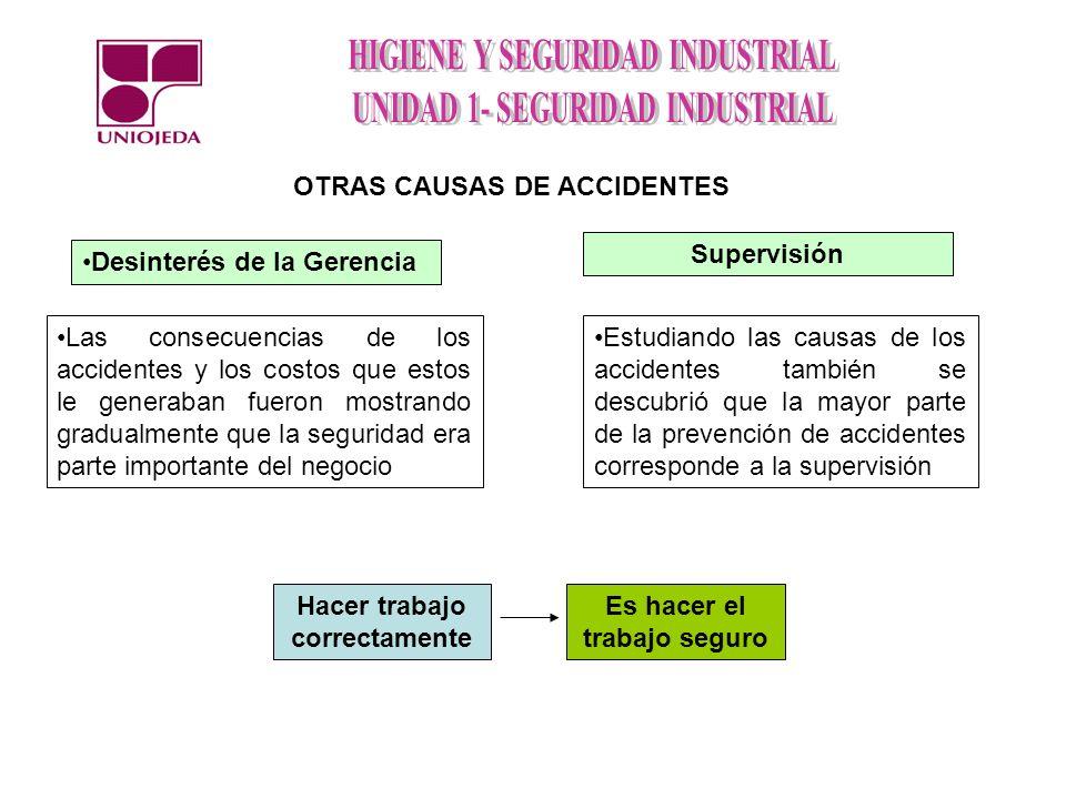 Desinterés de la Gerencia OTRAS CAUSAS DE ACCIDENTES Las consecuencias de los accidentes y los costos que estos le generaban fueron mostrando gradualm