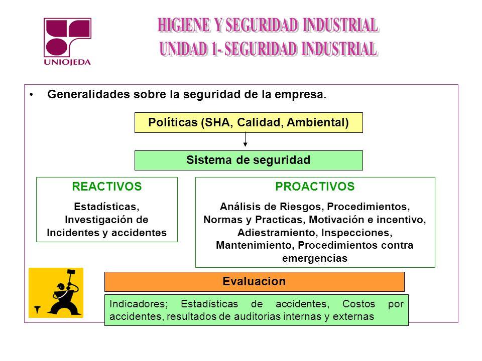 Generalidades sobre la seguridad de la empresa. Políticas (SHA, Calidad, Ambiental) Sistema de seguridad REACTIVOS Estadísticas, Investigación de Inci
