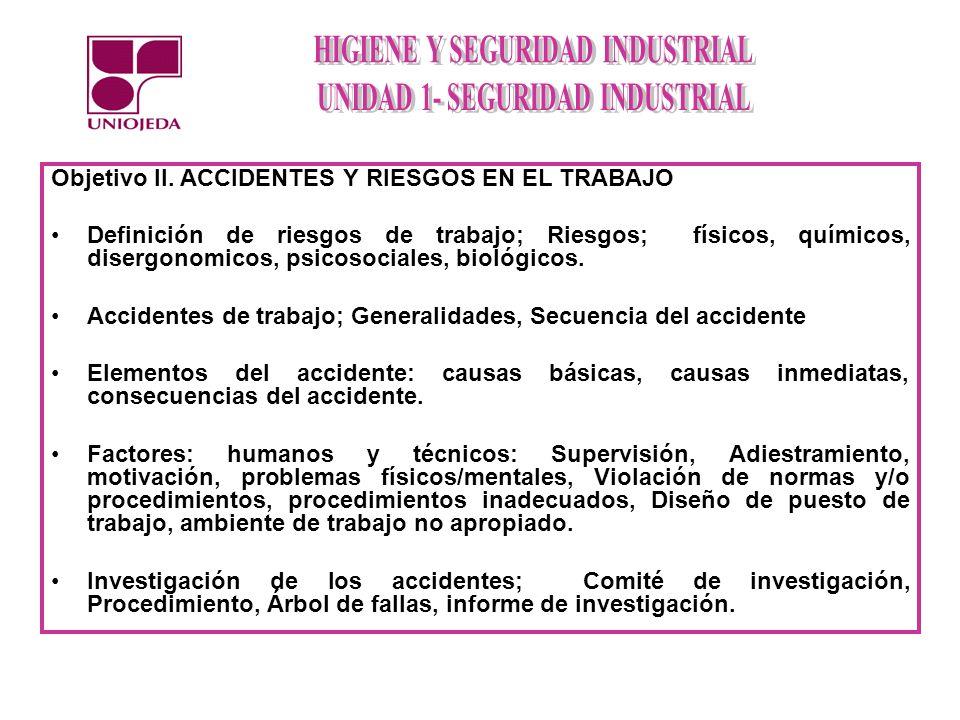 Objetivo II. ACCIDENTES Y RIESGOS EN EL TRABAJO Definición de riesgos de trabajo; Riesgos; físicos, químicos, disergonomicos, psicosociales, biológico
