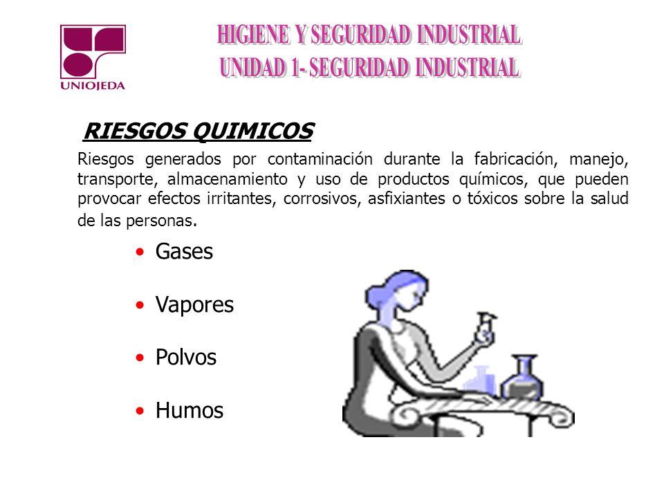 RIESGOS QUIMICOS Gases Vapores Polvos Humos Riesgos generados por contaminación durante la fabricación, manejo, transporte, almacenamiento y uso de pr