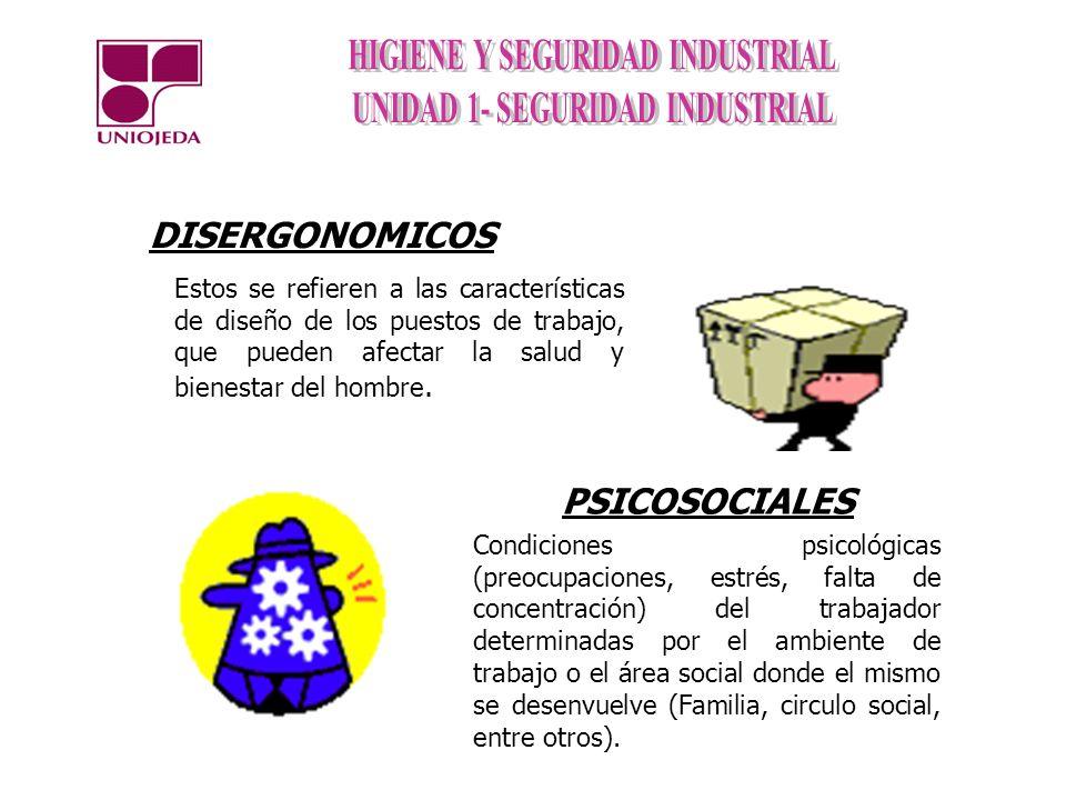 DISERGONOMICOS Estos se refieren a las características de diseño de los puestos de trabajo, que pueden afectar la salud y bienestar del hombre. PSICOS