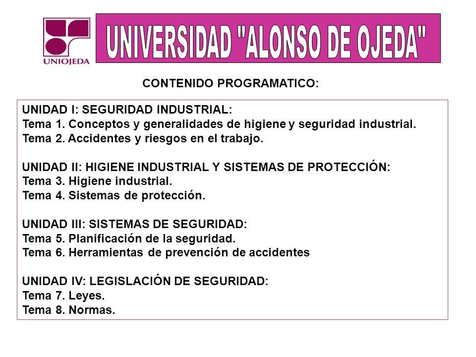 UNIDAD I: SEGURIDAD INDUSTRIAL: Tema 1. Conceptos y generalidades de higiene y seguridad industrial. Tema 2. Accidentes y riesgos en el trabajo. UNIDA