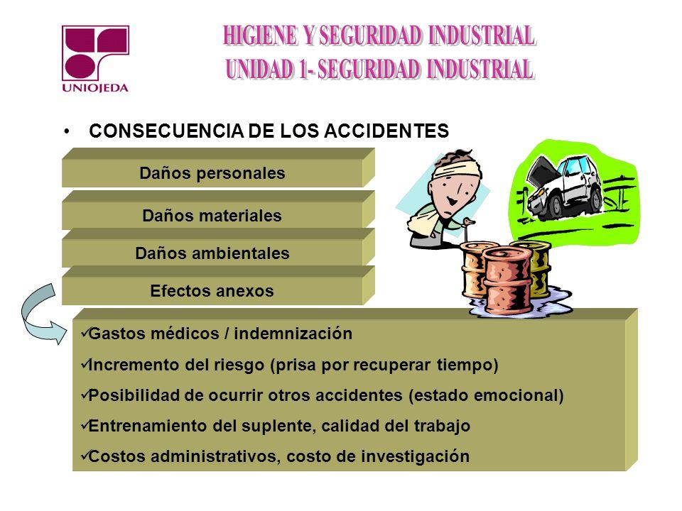 CONSECUENCIA DE LOS ACCIDENTES Daños personales Daños materiales Daños ambientales Efectos anexos Gastos médicos / indemnización Incremento del riesgo