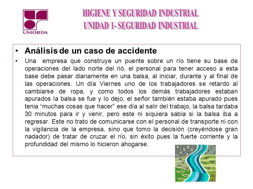 Análisis de un caso de accidente Una empresa que construye un puente sobre un río tiene su base de operaciones del lado norte del rió, el personal par