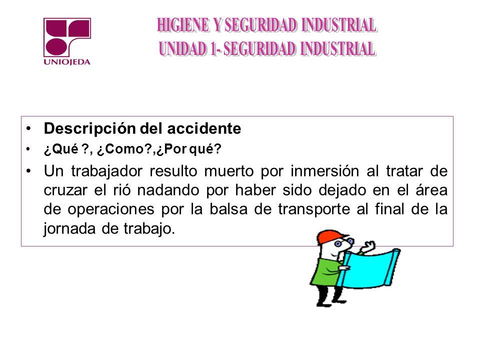 Descripción del accidente ¿Qué ?, ¿Como?,¿Por qué? Un trabajador resulto muerto por inmersión al tratar de cruzar el rió nadando por haber sido dejado