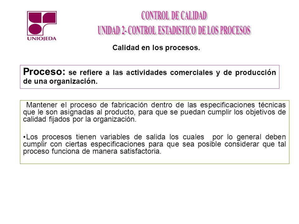 Proceso: se refiere a las actividades comerciales y de producción de una organización. Calidad en los procesos. Mantener el proceso de fabricación den
