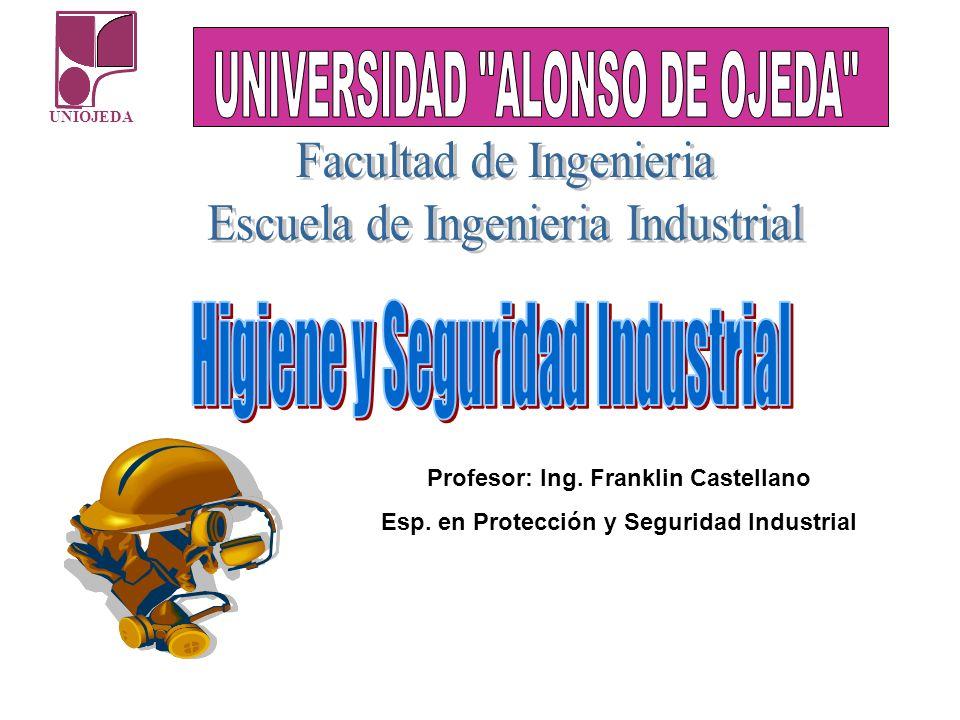 UNIOJEDA Profesor: Ing. Franklin Castellano Esp. en Protección y Seguridad Industrial