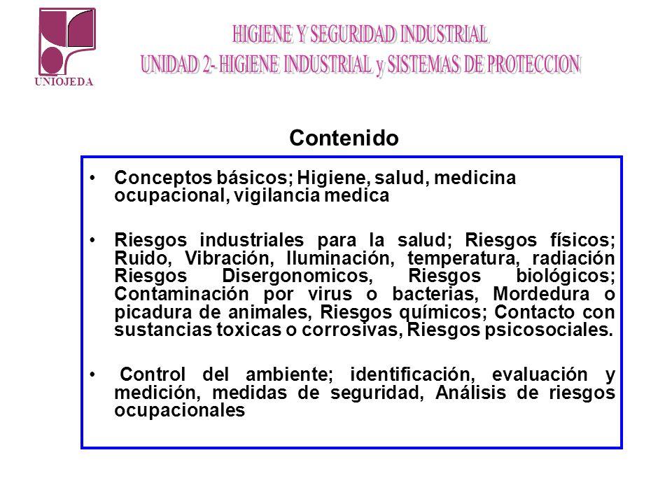UNIOJEDA Conceptos básicos; Higiene, salud, medicina ocupacional, vigilancia medica Riesgos industriales para la salud; Riesgos físicos; Ruido, Vibrac