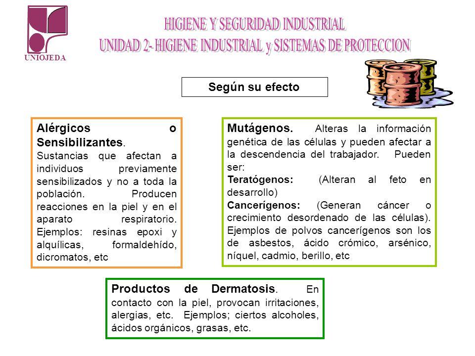 UNIOJEDA Según su efecto Alérgicos o Sensibilizantes. Sustancias que afectan a individuos previamente sensibilizados y no a toda la población. Produce