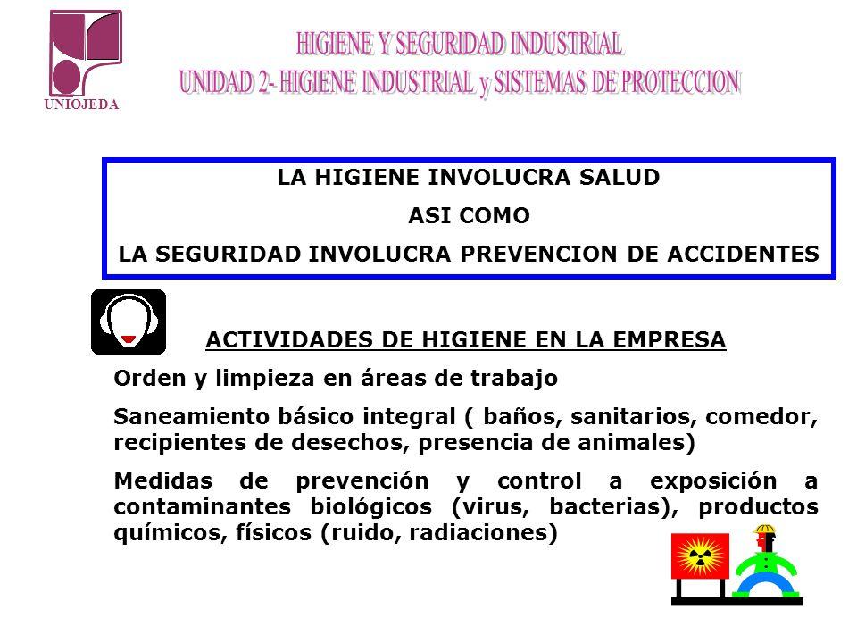 UNIOJEDA LA HIGIENE INVOLUCRA SALUD ASI COMO LA SEGURIDAD INVOLUCRA PREVENCION DE ACCIDENTES ACTIVIDADES DE HIGIENE EN LA EMPRESA Orden y limpieza en