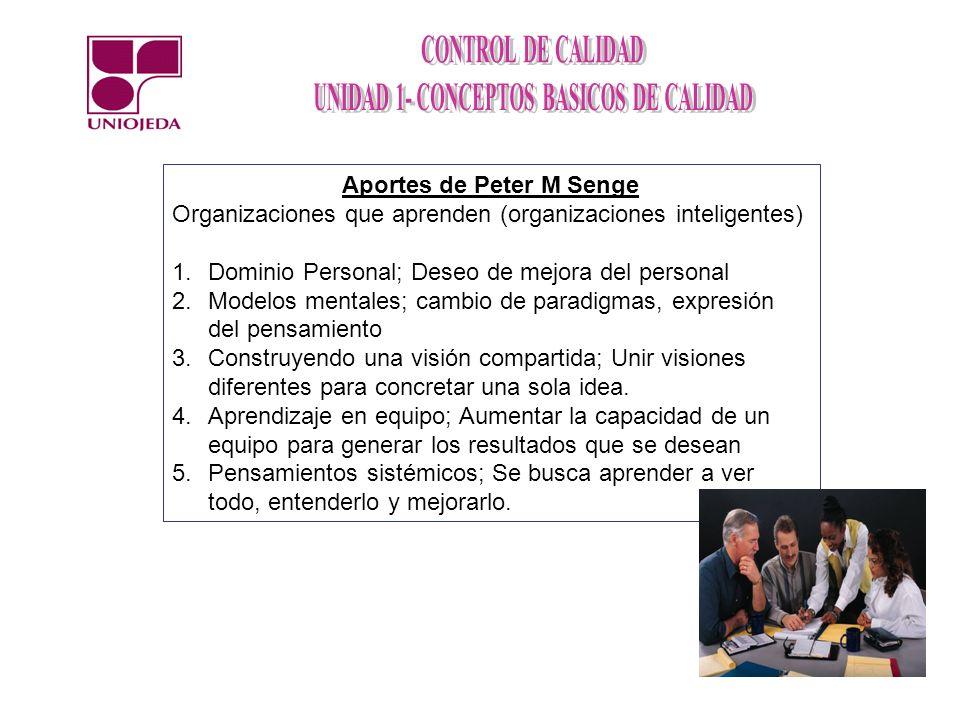 Aportes de Peter M Senge Organizaciones que aprenden (organizaciones inteligentes) 1.Dominio Personal; Deseo de mejora del personal 2.Modelos mentales