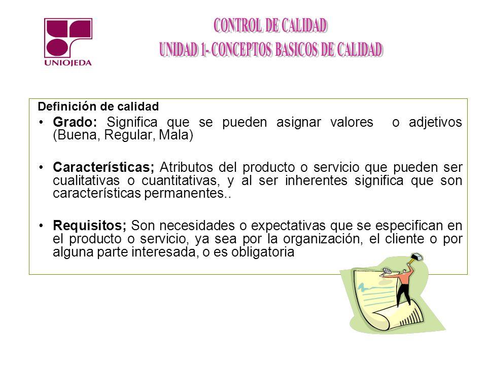 Grado: Significa que se pueden asignar valores o adjetivos (Buena, Regular, Mala) Características; Atributos del producto o servicio que pueden ser cu
