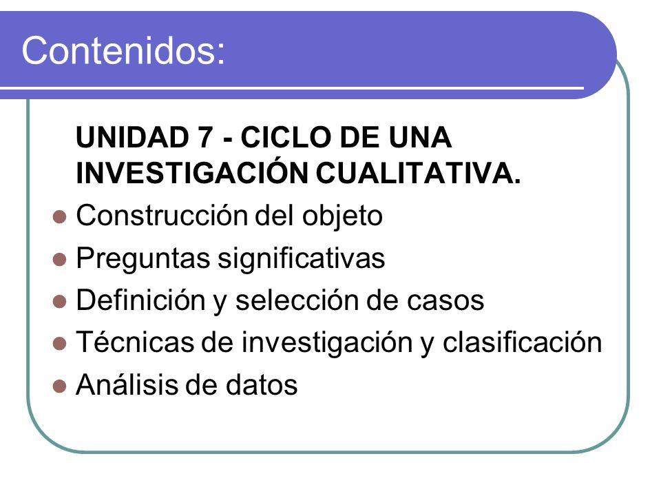 UNIDAD 7 - CICLO DE UNA INVESTIGACIÓN CUALITATIVA. Construcción del objeto Preguntas significativas Definición y selección de casos Técnicas de invest