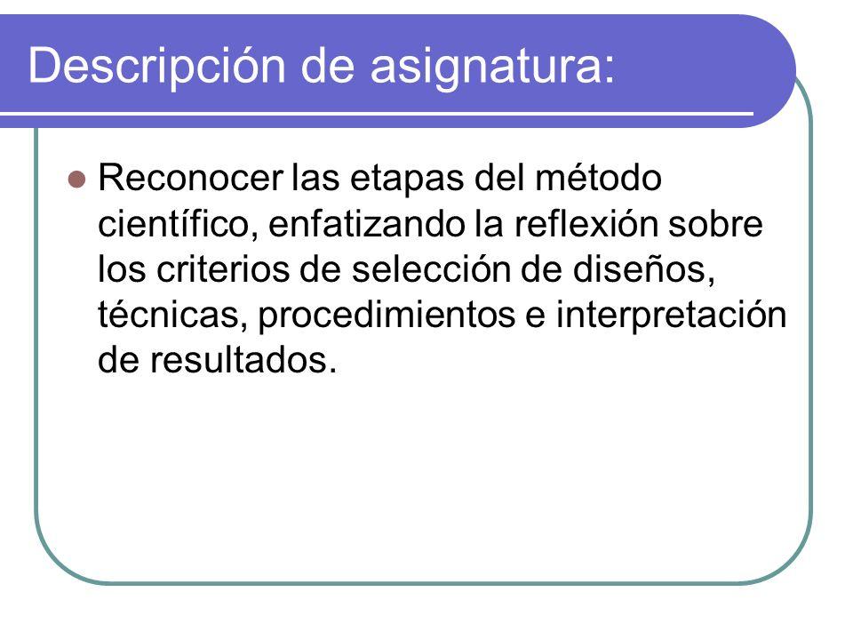 Descripción de asignatura: Reconocer las etapas del método científico, enfatizando la reflexión sobre los criterios de selección de diseños, técnicas,