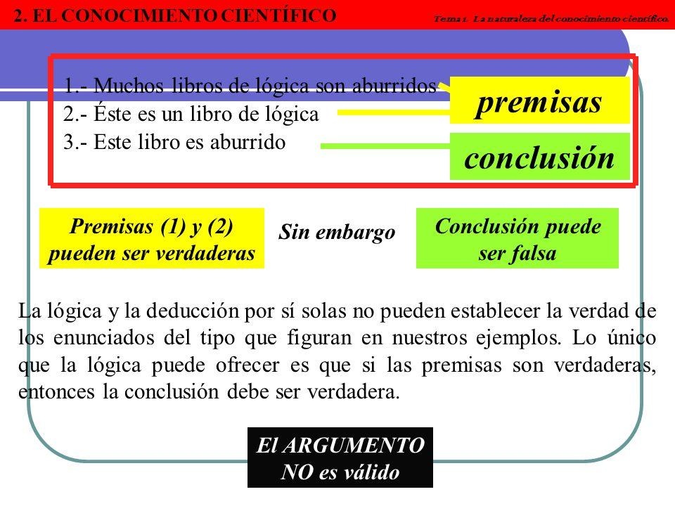 2. EL CONOCIMIENTO CIENTÍFICO Tema 1. La naturaleza del conocimiento científico. 1.- Muchos libros de lógica son aburridos 2.- Éste es un libro de lóg