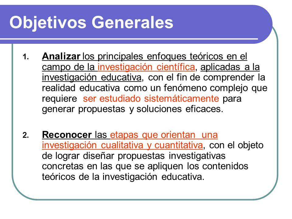Objetivos Generales 1. Analizar los principales enfoques teóricos en el campo de la investigación científica, aplicadas a la investigación educativa,
