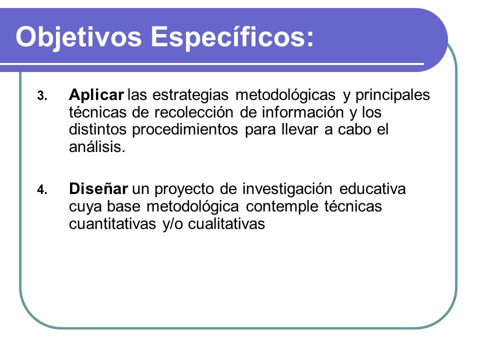 Objetivos Específicos: 3. Aplicar las estrategias metodológicas y principales técnicas de recolección de información y los distintos procedimientos pa