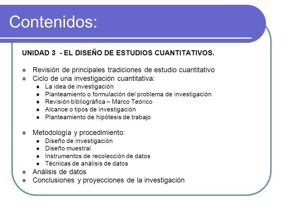Contenidos: UNIDAD 3 - EL DISEÑO DE ESTUDIOS CUANTITATIVOS. Revisión de principales tradiciones de estudio cuantitativo Ciclo de una investigación cua