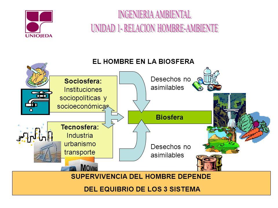 EL HOMBRE EN LA BIOSFERA Sociosfera: Instituciones sociopolíticas y socioeconómicas Tecnosfera: Industria urbanismo transporte Biosfera Desechos no as