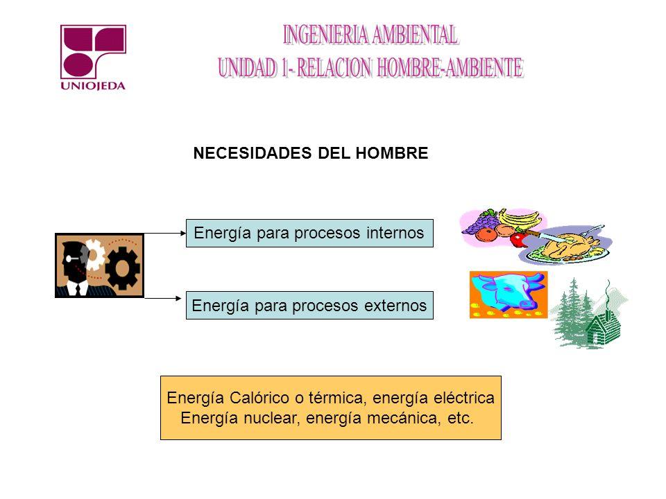 Energía para procesos internos Energía para procesos externos Energía Calórico o térmica, energía eléctrica Energía nuclear, energía mecánica, etc. NE