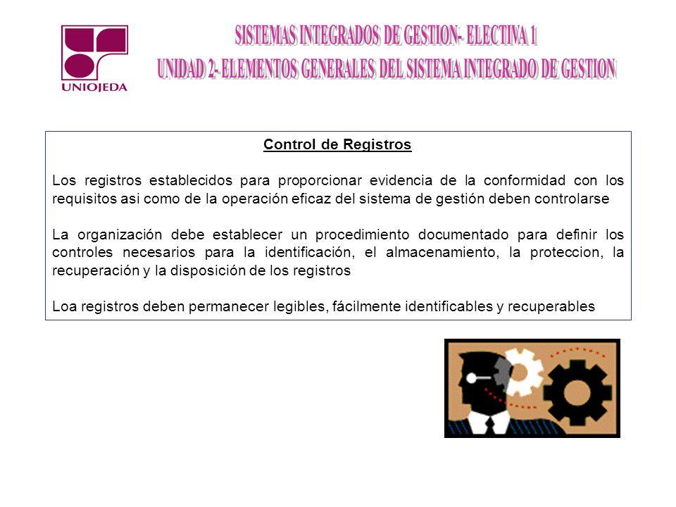 Control de Registros Los registros establecidos para proporcionar evidencia de la conformidad con los requisitos asi como de la operación eficaz del s