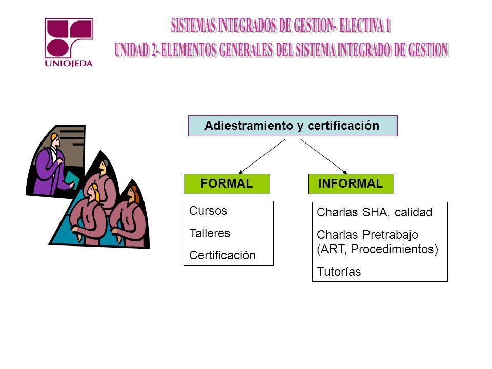 Adiestramiento y certificación FORMALINFORMAL Cursos Talleres Certificación Charlas SHA, calidad Charlas Pretrabajo (ART, Procedimientos) Tutorías