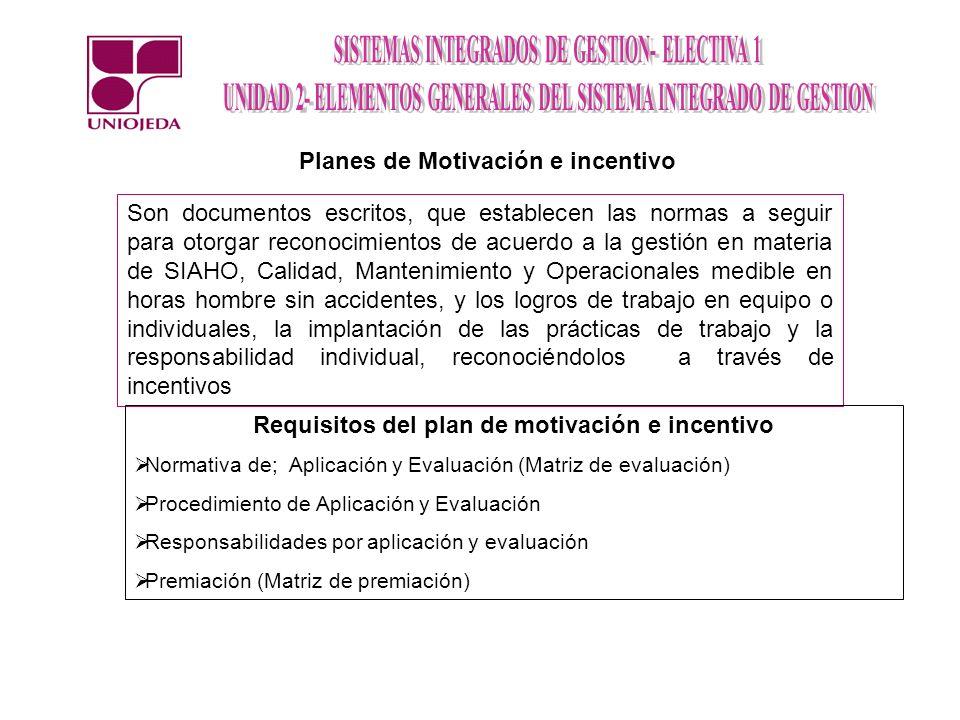Planes de Motivación e incentivo Son documentos escritos, que establecen las normas a seguir para otorgar reconocimientos de acuerdo a la gestión en m