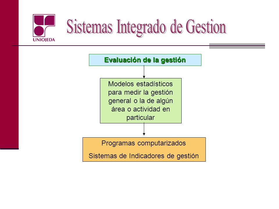 Evaluación de la gestión Modelos estadísticos para medir la gestión general o la de algún área o actividad en particular Programas computarizados Sist