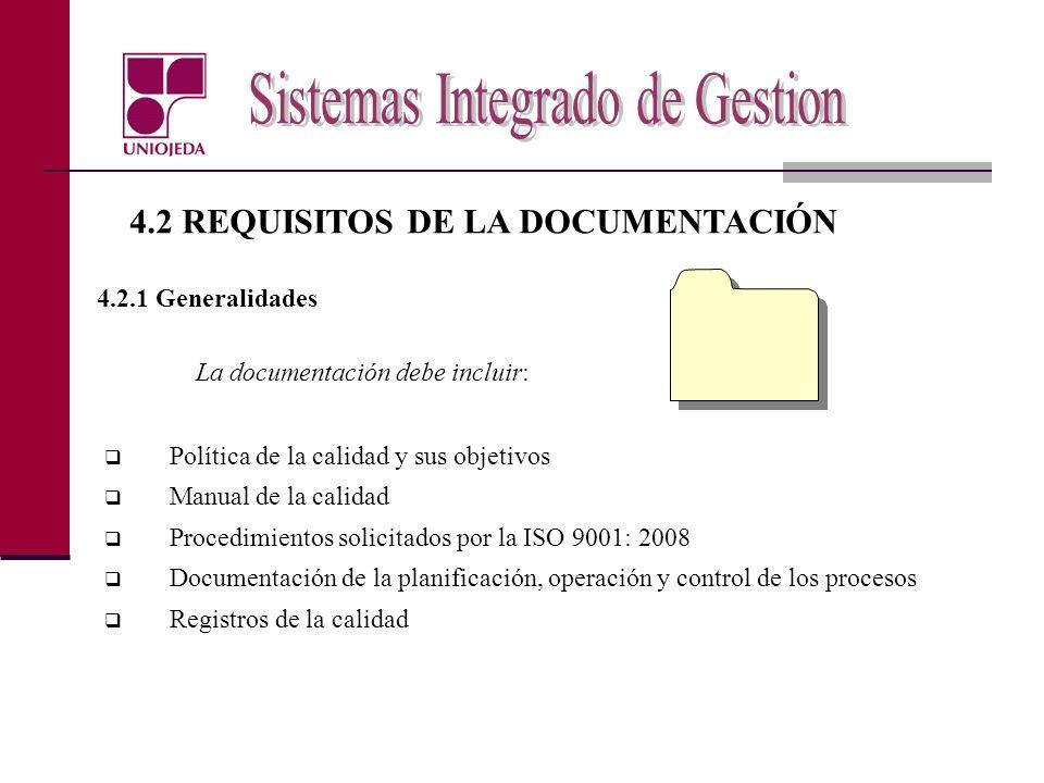 4.2 REQUISITOS DE LA DOCUMENTACIÓN 4.2.1 Generalidades La documentación debe incluir: Política de la calidad y sus objetivos Manual de la calidad Proc