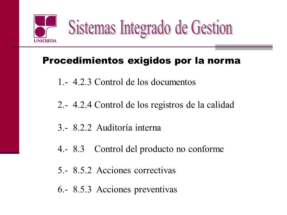 Procedimientos exigidos por la norma 1.- 4.2.3 Control de los documentos 2.- 4.2.4 Control de los registros de la calidad 3.- 8.2.2 Auditoría interna