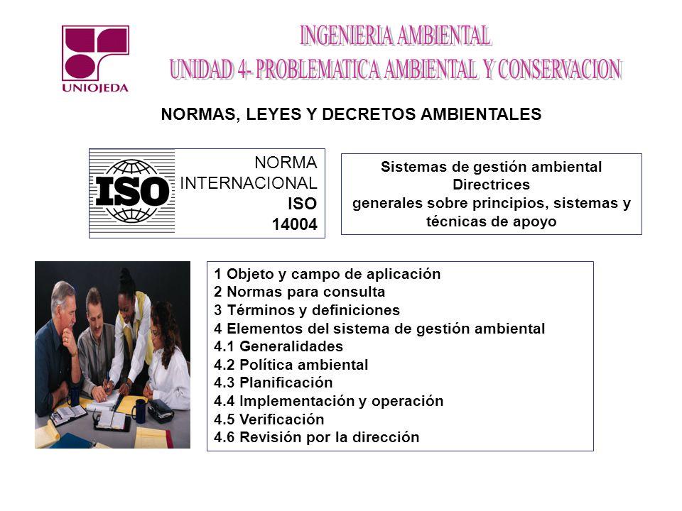 NORMAS, LEYES Y DECRETOS AMBIENTALES NORMA INTERNACIONAL ISO 14004 Sistemas de gestión ambiental Directrices generales sobre principios, sistemas y té