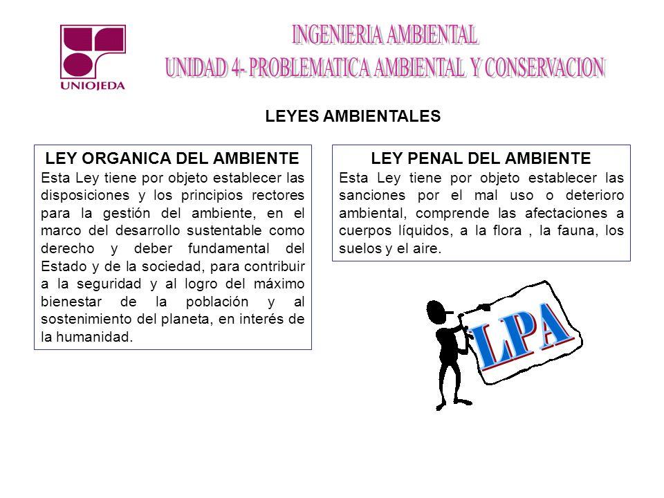 LEYES AMBIENTALES LEY ORGANICA DEL AMBIENTE Esta Ley tiene por objeto establecer las disposiciones y los principios rectores para la gestión del ambie