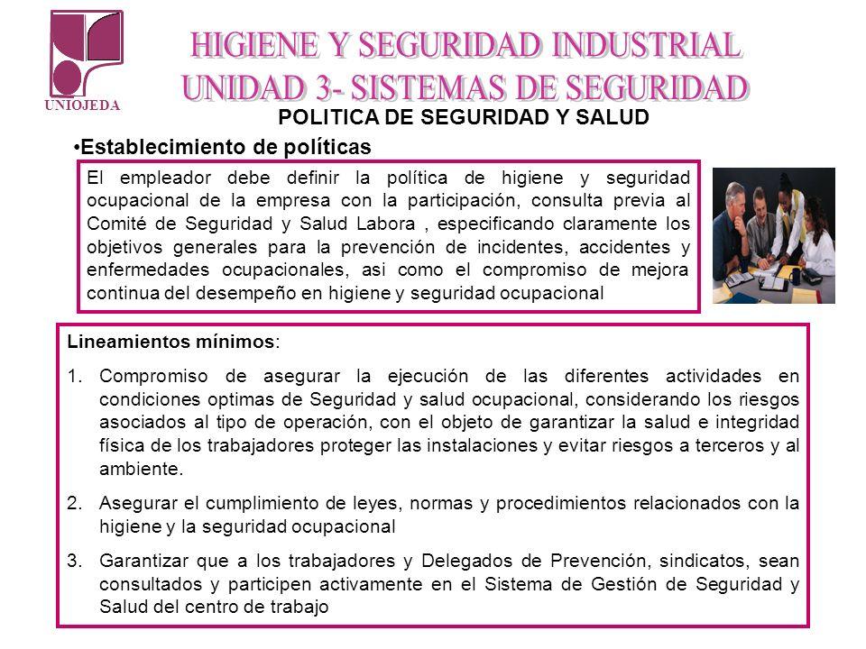 UNIOJEDA POLITICA DE SEGURIDAD Y SALUD Establecimiento de políticas El empleador debe definir la política de higiene y seguridad ocupacional de la emp