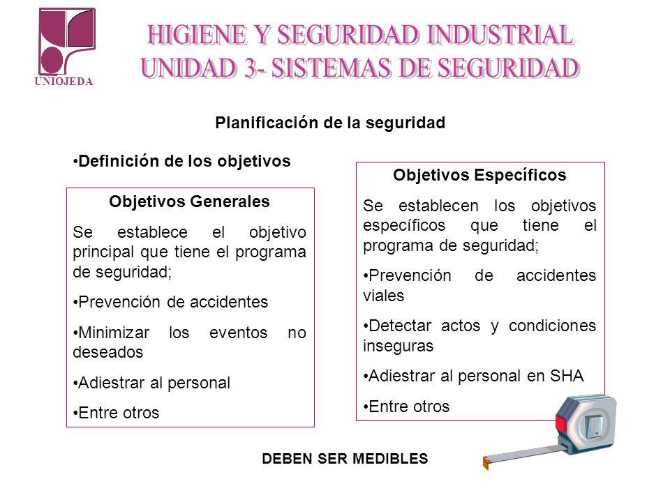 UNIOJEDA Planificación de la seguridad Definición de los objetivos Objetivos Generales Se establece el objetivo principal que tiene el programa de seg